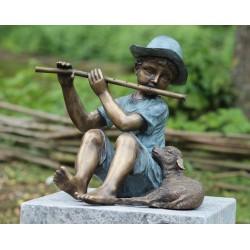 Bronzefiguren - Junge mit Flöte und Schaf