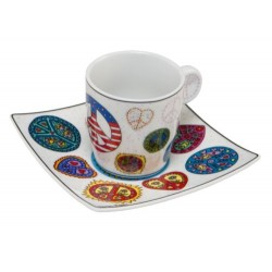 James Rizzi - Espressoset Love And Peace white