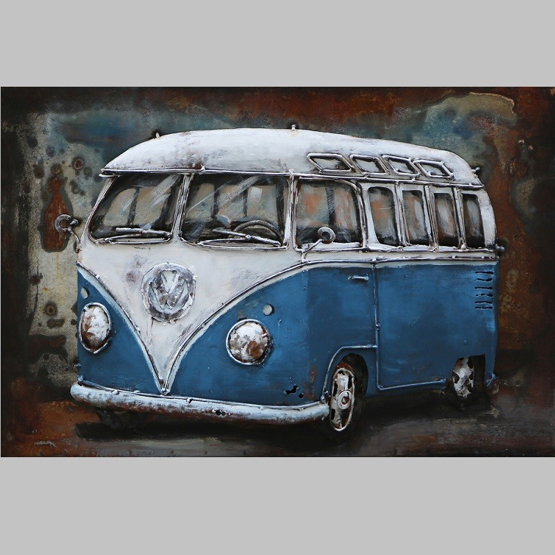 metallbild vw bus classic blau neu arta curiosa. Black Bedroom Furniture Sets. Home Design Ideas
