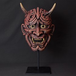 Edge Sculpture - Japanese Hannya Mask Antique Red