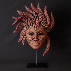 Edge Sculpture - Venetian Carnival Mask Red/Gold NEU