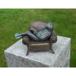 Bronzefiguren - Frosch im Sessel