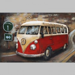 Metallbild - VW-Bus classic orange NEU