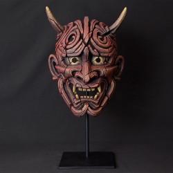 Edge Sculpture - Japanese Hannya Mask Antique Red